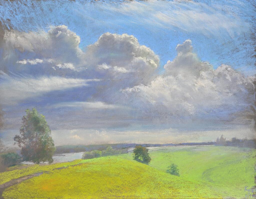 oblaka nad ostrovom kizhi 50h65 sm. 2020
